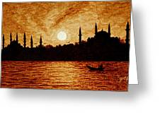 Sunset Over Istanbul Original Coffee Painting Greeting Card