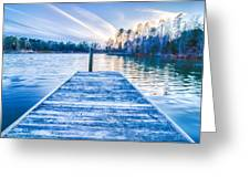 Sunset Over Lake Wylie At A Dock Greeting Card