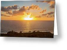 Sunset Over The Pacific Ocean, Torrey Greeting Card