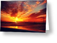 Sunset Puddle Reflections Greeting Card