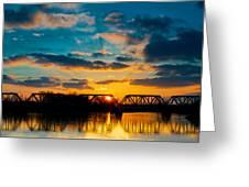 Sunset Railroad Bridge Greeting Card