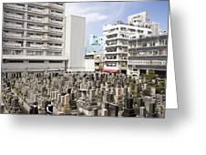 Super Dense Cemetery In Tokyo Greeting Card