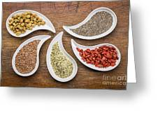 Superfood Collection In Teardrop Bowls Greeting Card