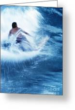 Surfer Carving On Splashing Wave, Interesting Perspective And Blur Greeting Card