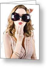 Surprised Beautiful Pin-up Girl. White Background Greeting Card