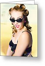 Surprised Pinup Girl On Tropical Beach Background Greeting Card
