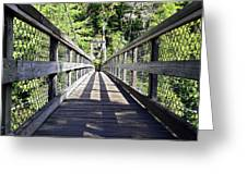 Suspension Bridge Greeting Card by Susan Leggett