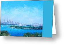 Sydney Harbour And The Opera House Cityscape View Greeting Card