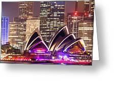 Sydney Skyline At Night With Opera House - Australia Greeting Card