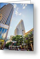 Tall Highrise Buildings In Uptown Charlotte Near Blumenthal Perf Greeting Card