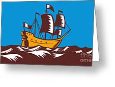 Tall Sailing Ship Retro Woodcut Greeting Card