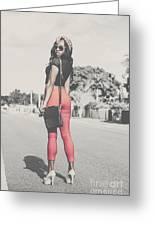 Tall Young Black Woman Modelling Handbag Accessory Greeting Card