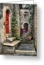 Tarquinia Red Door Impasto Greeting Card