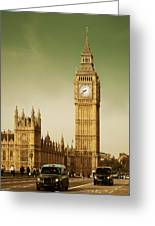 Taxi And Big Ben Greeting Card