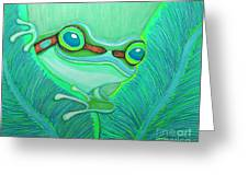 Teal Frog Greeting Card