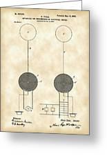 Tesla Electric Transmission Patent 1900 - Vintage Greeting Card