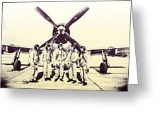 Test Pilots With P-47 Thunderbolt Fighter Greeting Card