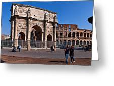 The Arch Of Constantine And Colosseum Greeting Card