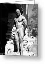 The Bodybuilder Greeting Card by Jake Hartz