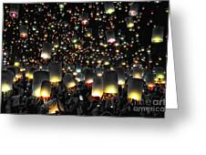 The Floating Lanterns In Thailand. Greeting Card