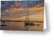The Harbor At Sunrise Greeting Card