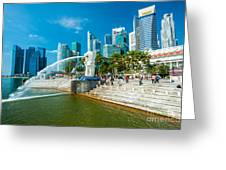 The Merlion  Fountain - Singapore Greeting Card