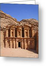 The Monastery Sculpted Out Of The Rock At Petra In Jordan Greeting Card