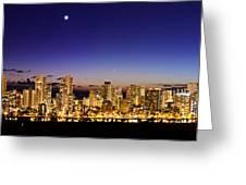 The Moon And Venus Over Honolulu Greeting Card