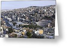 The Roman Theatre In The Middle Of The City Of Amman Jordan Greeting Card