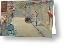 The Rue Mosnier With Flags Greeting Card