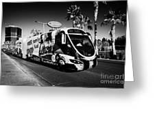 the sdx strip downtown express bendy bus on the Las Vegas strip Nevada USA Greeting Card