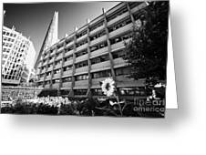 the shard building towering over melior street community garden London England UK Greeting Card