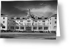 The Stanley Hotel Panorama Bw Greeting Card