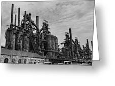 The Steel Mill In Black And White Greeting Card