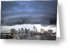 The Storm Over Manhattan Downtown Greeting Card