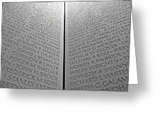 The Vietnam Memorial Wall Greeting Card