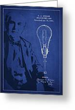 Thomas Edison Incandescent Lamp Patent Drawing From 1890 Greeting Card by Aged Pixel