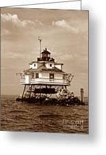 Thomas Point Shoal Lighthouse Sepia No. 2 Greeting Card