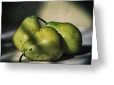 Three Pears Green Greeting Card