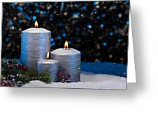 Three Silver Candles In Snow  Greeting Card