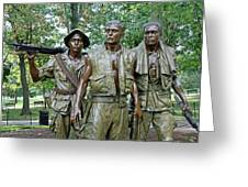 Three Soldiers Statue Greeting Card