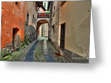 Tight Alley With A Bridge Greeting Card