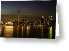 Toronto Evening Sky Line Panorama Greeting Card
