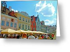 Town Square In Old Town Tallinn-estonia Greeting Card
