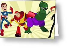 Toy Story Avengers Greeting Card by Lisa Leeman