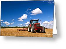 Tractor In Plowed Field Greeting Card