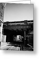 train going over railway bridge elevated section of track southwark London England UK Greeting Card