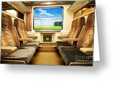 Travel In Comfortable Train. Greeting Card