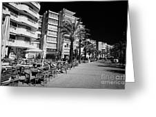Tree Lined Seafront Promenade With Restaurants And Apartment Blocks Salou Catalonia Spain Greeting Card