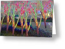 Trees Around Faal Season  Digitally Painted Photograph Taken Around Poconos  Welcome To The Pocono M Greeting Card